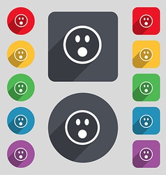 Shocked Face Smiley icon sign A set of 12 colored vector image