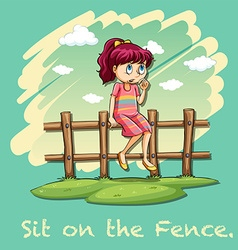 Sit on the fence idiom vector