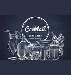 sketch cocktail background hand drawn alcohol vector image