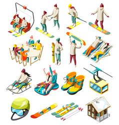 ski resort isometric icons vector image
