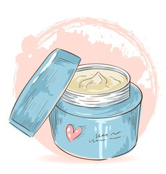 Skincare make-up cream jar isolated card vector image