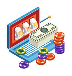 slot machine in laptop online casino and gambling vector image