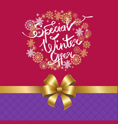 Special winter offer in frame made of snowflakes vector