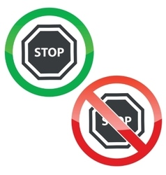 STOP permission signs set vector