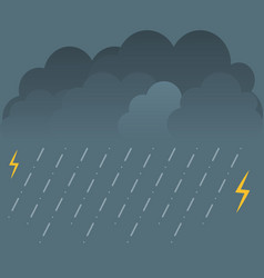 Storm and lightning with rain and clouds vector
