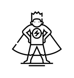 Superman line icon concept sign outline vector