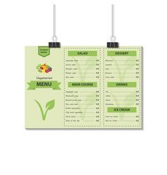Template design vegetarian food menu vector