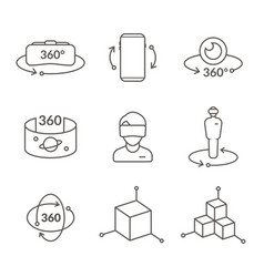 thin line icons of virtual reality innovation vector image