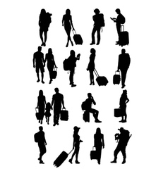 Traveling People Silhouettes vector image