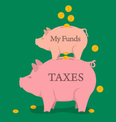 Two money pigs with coins - funds and taxes vector