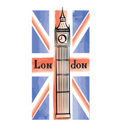 uk flag london city famous landmark travel gb sign vector image