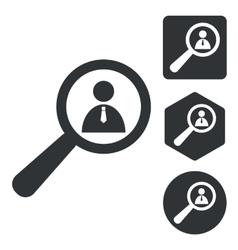 User details icon set monochrome vector