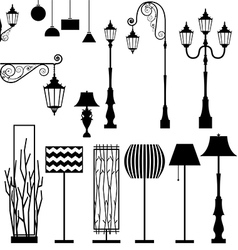 Vintage and modern lamp set vector image