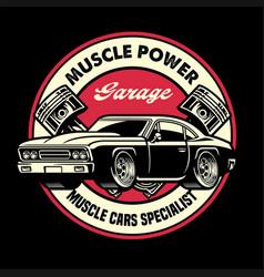 Vintage shirt design muscle car garage badge vector