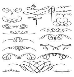 Vintage vignette set calligraphic vector