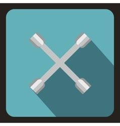 Wheel wrench cross icon flat style vector image