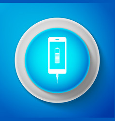white smartphone battery charge icon isolated vector image