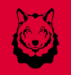 wolf face flat style front vector image