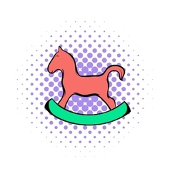 Wooden horse comics icon vector