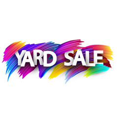 Yard sale poster with colorful brush strokes vector
