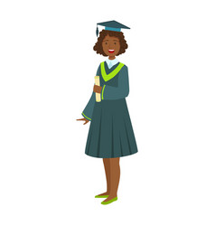 Young girl in student mantle holding diploma vector