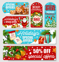 christmas and new year holidays sale tag design vector image