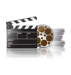 Clapboard and film reel 01 vector