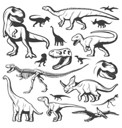 Vintage Dinosaurs Collection vector image