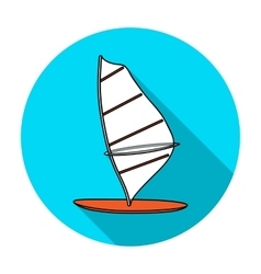 Windsurf board icon in flat style isolated on vector image