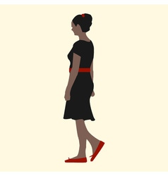 a girl in a black dress red shoes belts and hair vector image vector image