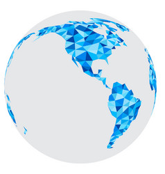 blue mosaic geometric abstract globe vector image