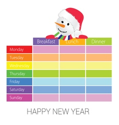 happy new year with snowman vector image