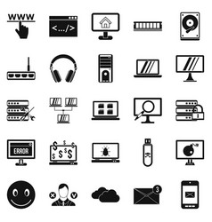 internet icons set simple style vector image vector image