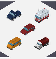 Isometric automobile set of first-aid autobus vector