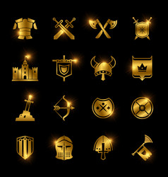 medieval warriors shield and sword icons vector image