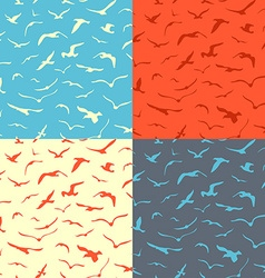 Set of seamless birds patterns vector image vector image