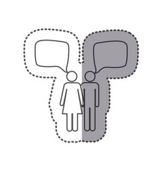 sticker silhouette pictogram couple with square vector image vector image