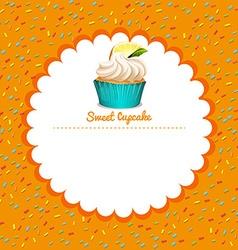 Border design with lemon cupcake vector image vector image