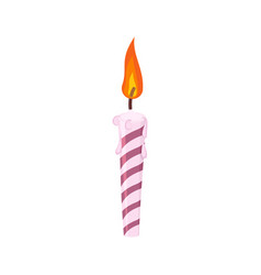 candle birthday cake festive red candle isolated vector image
