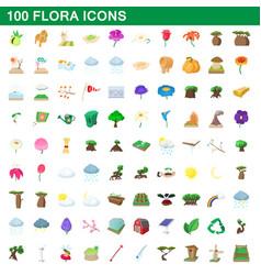 100 flora icons set cartoon style vector