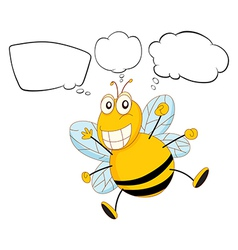 A bee with empty callouts vector image vector image