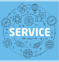 blue line flat circle service vector image