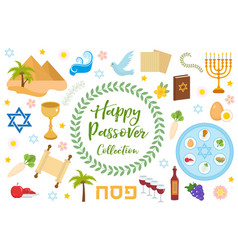 passover icons set flat cartoon style jewish vector image vector image