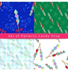 Seamless patterns with corkscrew lollipop vector image vector image