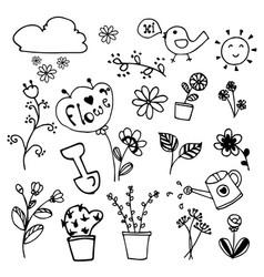 set of beauty flowers doodle hand drawn on vector image vector image