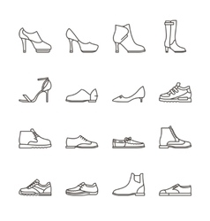 Shoes line icons vector image vector image