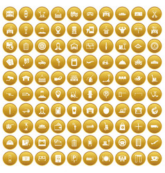 100 loader icons set gold vector