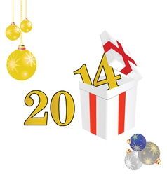 2014 year with a package and christmas ball color vector image