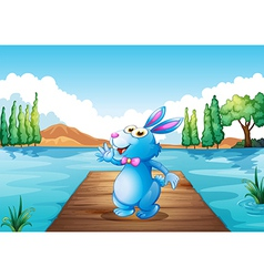 A bunny above the wooden bridge at the river vector