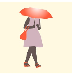 A girl walking in the rain wit flat style vector